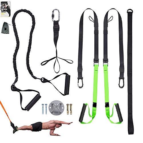 Clothink Sling Trainer - Arnés para entrenamiento de hasta 300 kg, correas para los pies, guía de ejercicios, longitud ajustable, fitness, hogar, suspensión en suspensión verde