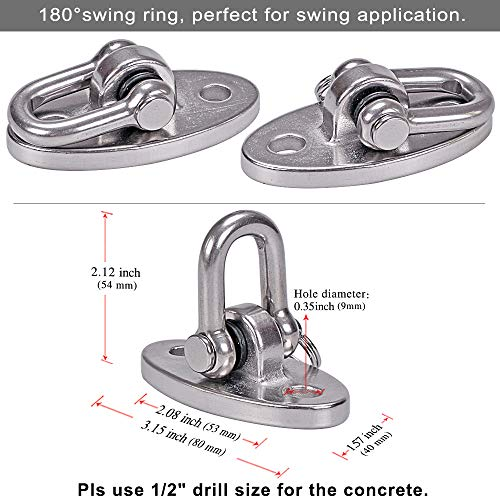 SELEWARE 2 Pieces 2000 lb Capacity Stainless Steel 180° Swing Hangers, Heavy Duty Swing Hooks for Concrete Ceiling Wooden, Hanging Hardware for Por Porch Yoga Trapeze Playground Hammock Gym Swing Sets