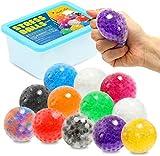 ZaxiDeel 12 Anti-Stressbälle zum Kneten, Bunte Quetschball mit Wasse Perlen für Dekompression,...