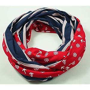 Baumwoll Loop Schal: Anker & Co, rot weiß mit dunkelblau, maritim, Strand, Urlaub