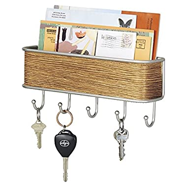 mDesign Mail, Letter Holder, Key Rack Organizer for Entryway, Kitchen - Wall Mount, Satin/Teak Finish
