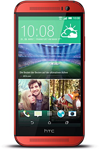 HTC One M8 Smartphone (12,7 cm (5 Zoll) Touchscreen, Quad-Core, 2GB RAM, 5 Megapixel Kamera, 16GB interner Speicher, Android v4.4) rot