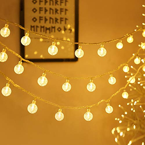 Zorela Globe Fairy Lights, 15M 100 LED Globe String Lights with Remote, USB or Battery Powered, Indoor Outdoor Balcony Lights for Christmas, Bedroom, Patio, Gazebo and Wedding Decor - Warm White