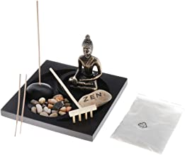 Prettyia Mini Landscape Buddhist Buddha Statue Sand Table Rock Rake Tray Garden