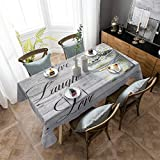 Aomike Linen Rectangle Tablecloth Daisy Flowers Live Laugh Love Grey Wood Grain Table Cloth Washable Dust-Proof Table Cover for Dining/Buffet/Parties/Weddings/Banquet, (53' x 53')