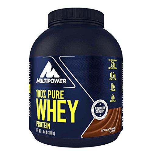Multipower 100% Pure Whey Protein – wasserlösliches Proteinpulver mit Schokoladen Geschmack – Eiweißpulver mit Whey Isolate als Hauptquelle – Vitamin B6 und hohem BCAA-Anteil – 2 kg