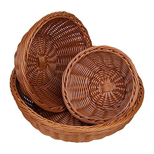 Lawei 3 cestas redondas para exhibición de pan, estilo vintage, de imitación de ratón, cestas de almacenamiento de verduras, bandejas para el hogar, cocina, restaurante