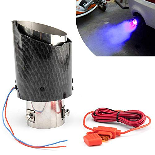 Vechkom 2.5 inch Inlet Carbon Fiber Exhaust Tip with Blue LED Light Stainles Steel Muffler Tip Modification Luminous Tube