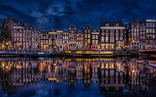 OAEC Puzzle Adultos 500 Piezas Jigsaw Puzzles DIY Wooden Puzzle Amsterdam, Holanda Rompecabezas De Juguete Educational Game Regalo 38X52Cm