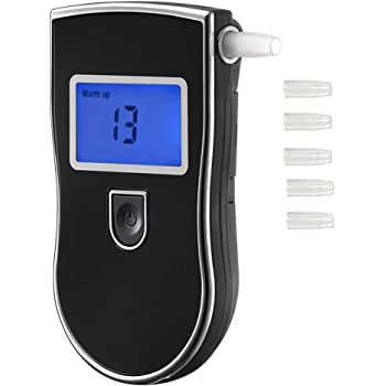Breathalyzer, Portable Breath Alcohol Tester Digital Alcohol Detector for Drive Or Home Use, High Accuracy Semiconductor Sensor Personal Breathalyzers with 5 Mouthpieces
