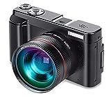 BWHTY Vlogging-Kamera, Videokamera FHD 1080P 24MP Digitalkamera WiFi-Kamera-Camcorder Mit Weitwinkelobjektiv, Um 180 Grad Drehbarer Flip-Screen, 16-Facher Digitalzoom, 32-GB-Karte