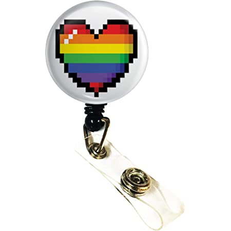 Infinity Symbol With Rainbow Feather  Retractable Badge Reel ID Holder