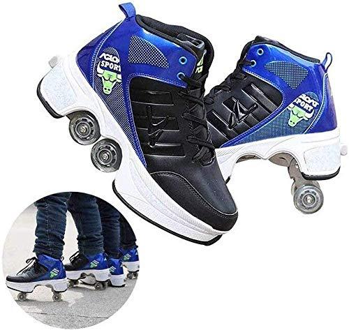 ASDASD Zapatos de Patines Ajustables de Cuatro Ruedas Zapatos de Patines deformables Patines en línea Zapatos multipropósito 2 en 1 Negro-31-Azul_31