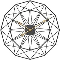 ラージメタルスケルトンウォールクロックミュート装飾幾何学時計リビングルームゴールド60センチ、ブラック、60CM