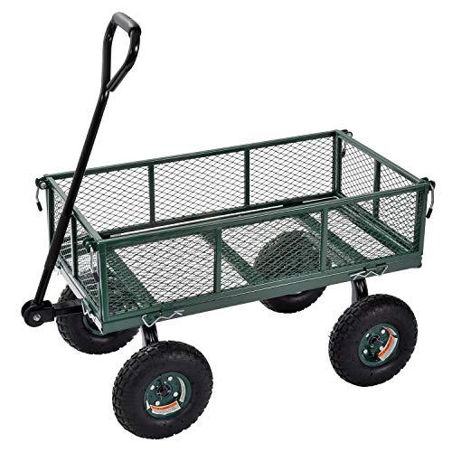 Juggernaut Carts - GW3418-GR Steel Utility Garden Wagon, 400 lb. Load Capacity, 21-3/4' Height x 34' Length x 18' Width