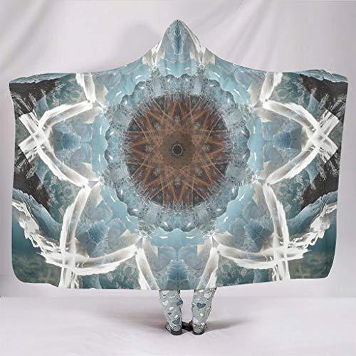 Manta de invierno con estampado floral simetría, suave, con capucha, moderna, de peluche, color blanco, 130 x 150 cm