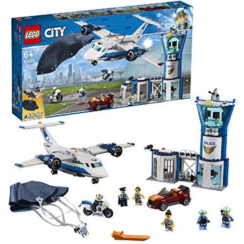 LEGO City BasedellaPoliziaAerea, Aereo con Paracadutista e Jetpack,Moto e Automobile,Set di Costruzioni per Inseguimenti per Bambini, 60210