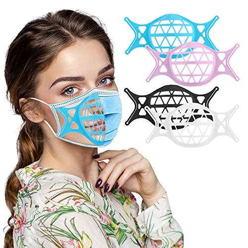 UOWEG 3D Maskenhalter - Silikon-halterung Für Masken Waschbare Maskenhalterung Innenkissen Innerer Stützrahmen Bequemes Atmen Silikonhalter, Lippenstiftschutzhalter, 3D Gesichtshalter