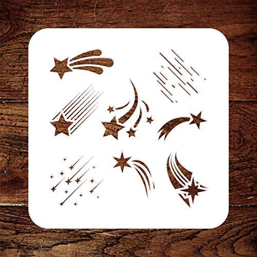 Sternschnuppen-Schablone – 11,5 x 11,5 cm – wiederverwendbare himmlische Sternschnuppen-Wandschablonen – Verwendung für Papierprojekte, Scrapbook, Tagebuch, Wände, Böden, Stoff, Möbel, Glas, Holz usw.