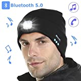 Tutuko Bluetooth 5.0 LED Beanie Hat, Built-in Stereo Speakers & Mic, USB Rechargeable LED Lighted Knit Cap, Unisex for Men, Women, Teens, Warm Hat for Sports and Outdoors (Black)