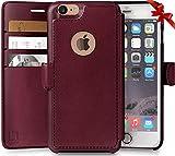 Lupa Funda para teléfono iPhone 6, 6S tipo portafolios, durable y delgado, ligero con diseño clásico y ultraresistente, cierre magnético, cuero sintético, Marrón claro