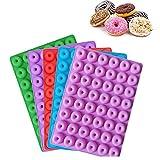 5 Pezzi 48 Fori Mini Stampi per Ciambelle in Silicone, Stampi in Silicone per Alimenti Antiaderenti per La Produzione di Caramelle Ciambelle ai Cioccolato, Cinque Colori, 19.9 * 15.1 * 1.2cm