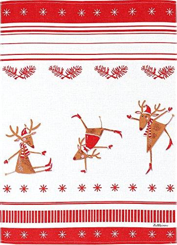 KRACHT, Halbleinen Geschirrtuch, Druckmotiv Tanzende Elche, Format 50/70cm