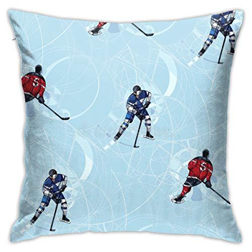 Funda de almohada CVDGSAD para cojín, diseño de hockey sobre hielo, color azul, 45,7 x 45,7 cm, se puede lavar a máquina
