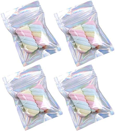 Wocuz 100pcs 3 x 4 inch laser Holographic rainbow color Resealable Smell Proof Bags Clear Front product image