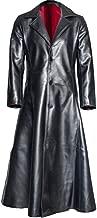 jin&Co Men's Faux Leather Jacket Lapel Button Medieval Gothic Punk Vintage Long Trench Coat Overcoat Parka Coat S-5XL