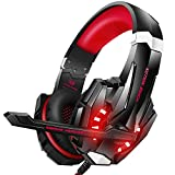 BENGOO Stereo Pro Gaming Headset for PS4, PC, Xbox One Controller, Noise Cancelling Over Ear Headphones with Mic, LED Light, Bass Surround, Soft Memory Earmuffs for Laptop Mac Wii Accessory Kits