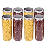 8 Pack 20 oz (600 ml) Clear Straight Cylinders Plastic Storage Jars-...