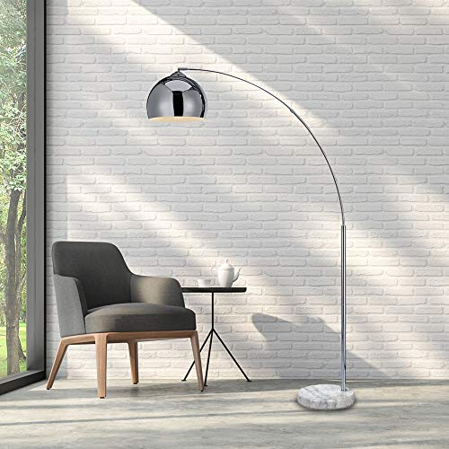 Archiology Arc Floor Lamp, 67″Height Chrome Floor Lamp with Floor Switch and Stable Marble Base, The Unique Curved Design is Ideal for Living Room Reading Bedroom Home Office