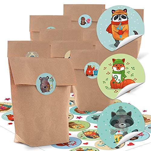 Logbuch-Verlag 24 Adventskalender Tüten zum Befüllen Kinder Tiere Kraftpapier Beutel MIT 1-24 Zahlen Sticker Aufkleber Basteln 14 x 22 x 5,6 cm