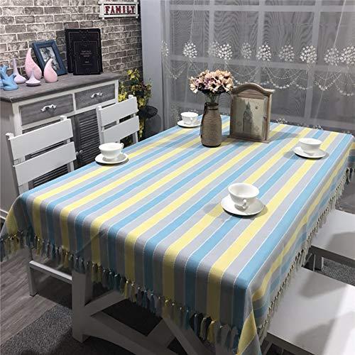 Cozomiz Mantel de lino con diseño de rayas de algodón con borla para mesa cuadrada retangular, estilo moderno, cubierta protectora para muebles, mantel decorativo de 53 x 86 pulgadas, azul