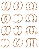 Tornito 24Pcs 16-20G Stainless Steel Nose Ring Hoop Cartilage Tragus Helix Daith Earring Horseshoe Septum Ring Eyebrow Lip Piercing Jewelry 8MM Rose Gold Tone