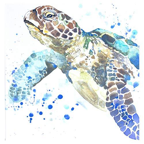 SEA TURTLE BATHROOM DECOR CANVAS print WATERCOLOR for Beach Theme Artwork