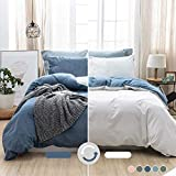 MILDLY Denim Duvet Cover Queen Blue Comfortable Quilt Cover Set 100% Washed Cotton with Zipper Closure & Closure Ties (No Comforter)