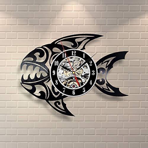 Reloj De Pared De Vinilo Reloj De Pared Con Disco De Vinilo De Peces Tropicales Hombres Y Mujeres Diseño De Arte Único Creativo Para Niños Adultos Sala De Estar Decoración Del Hogar 30 × 30 Cm
