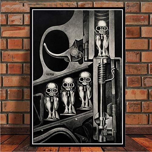 MZCYL Leinwand Malerei Wandkunst Bild Hr Giger Li Ii Alien Horror Poster Drucken Leinwand Malerei Geschenk Ohne Rahmen 40 * 60 cm