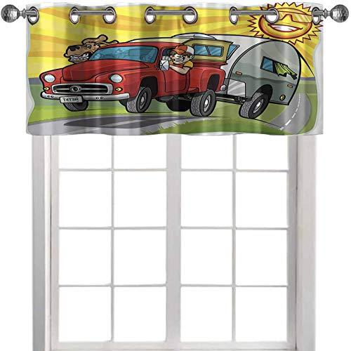 YUAZHOQI cortinas de cocina cenefas hombre y perro conducción remolque por carretera en el día soleado, 127 cm de ancho x 45 cm de largo, cortinas para ventanas (1 panel)
