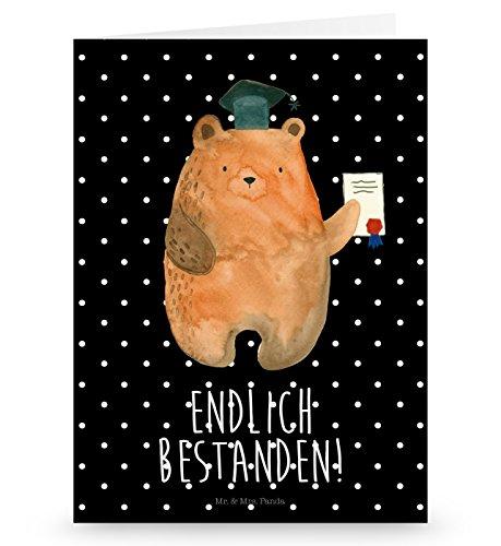 Mr. & Mrs. Panda Grußkarte Prüfungsbär - Abitur, Prüfungen, Prüfung bestanden, Abschluss, Zeugnis, Abschlusszeugnis Grusskarte, Klappkarte, Einladungskarte, Glückwunschkarte, Hochzeitskarte, Geburtstagskarte