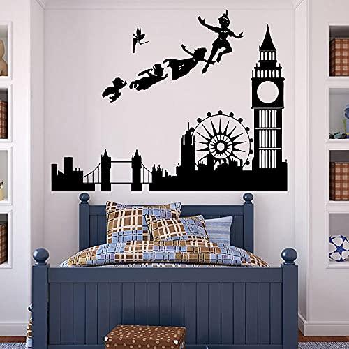 Calcomanías de pared para habitación de niños dibujos animados pirata patrón de Londres vinilo jardín de infantes pegatinas de pared interiores A8 54x42cm