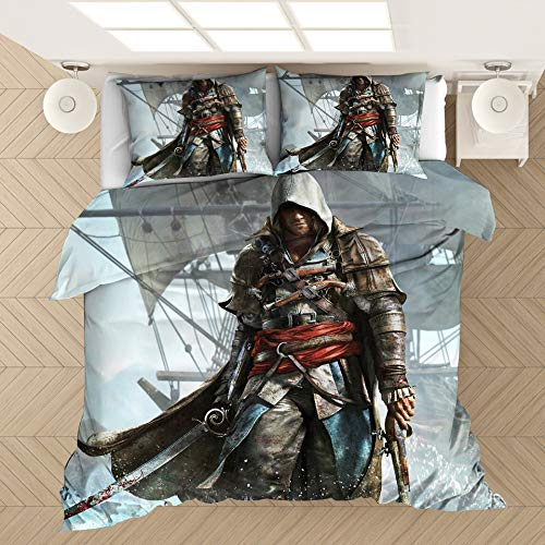 WFBZ Assassin's Creed - Juego de funda de edredón y funda de almohada (3 piezas)