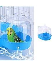 ANTOLE Hanging Bird Bath Cube Bird Bathtub Bath Shower Box Bowl Cage Accessory for Small Bird Cockatiel, Budgerigar, Macaw, Finch, Budgie, Parakeet, Conure, Canary, Parrots