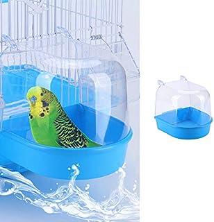 ANTOLE Hanging Bird Bath Cube Bird Bathtub Bath Shower Box Bowl Cage Accessory for Small Bird Cockatiel, Budgerigar, Maca...