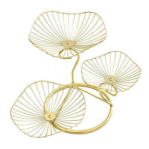 mossFlos Obstkorb Etagere, 3 stöckig Dekorativer Obstschale Metall (Gold)