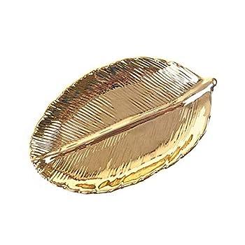 STARROP Ceramic Jewelry Plate Golden Leaf Ceramic Jewelry Tray Decorative Bracelets Necklace Storage Plate Rings Earrings Jewelry Holder for Women Girls