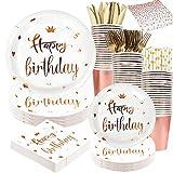 Vajilla para fiesta de cumpleaños de oro rosa que incluye platos y servilletas de feliz...
