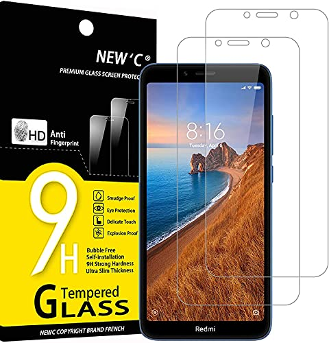 NEW'C 2 Unidades, Protector de Pantalla para Xiaomi Redmi 7A, Antiarañazos, Antihuellas, Sin Burbujas, Dureza 9H, 0.33 mm Ultra Transparente, Vidrio Templado Ultra Resistente